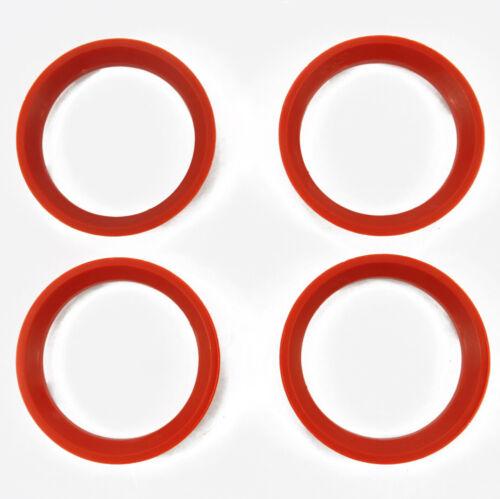 Skoda 4 anelli di centraggio Anelli Adattatore 66,6 a 57,1 per ad esempio VW Audi Seat in rosso