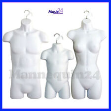 3 Pack Torso Body Hanging Mannequin Forms White Male Female Amp Child Set