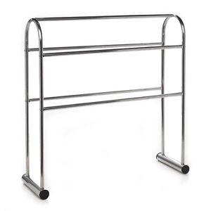 towel free standing rack chrome plated steel 5 bar bathroom rail stand holder. Black Bedroom Furniture Sets. Home Design Ideas