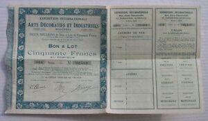 Exposition Des Arts Decoratifs Paris 1925 Bon 50 Fr Pvgtd0vn-07221522-126924752