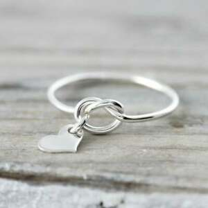 Love-knot-ring-with-heart-charm-recycled-sterling-silver-ring-Silver-Ring