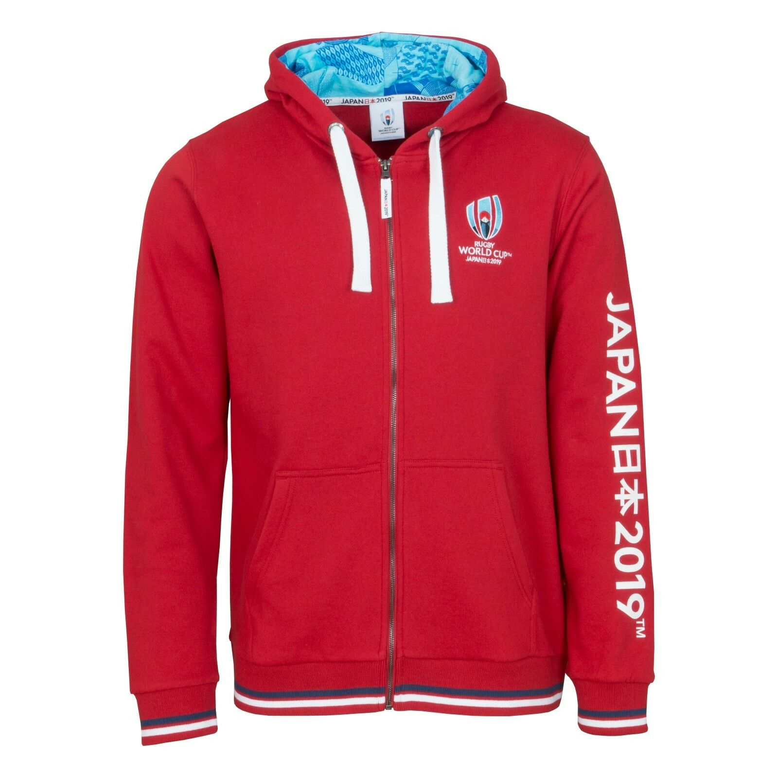 Rugby World Cup 2019 Mens Red Full Zip Hoodie Red RWC2019_C_28D