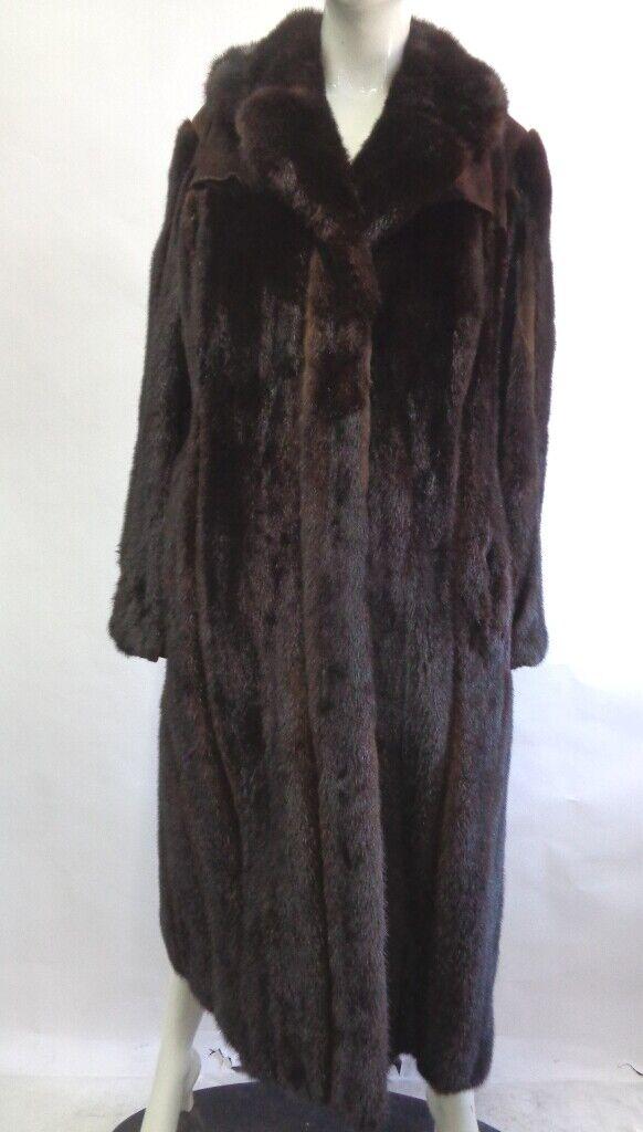 Excelente canadiense oscuro Ranch & Gamuza Abrigo Chaqueta de piel  de visón de Mujer Mujer Talla 6-8  compras en linea