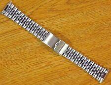 Jubilee Style Silver Tone 16mm-22mm Stainless Steel Metal Watch Bracelet Band
