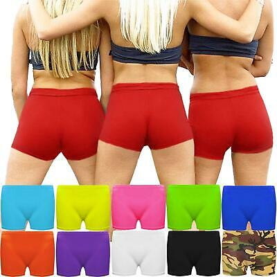 Womens Microfiber Hot Pants Girls Neon Colour Stretchy Dance Cycling Shorts