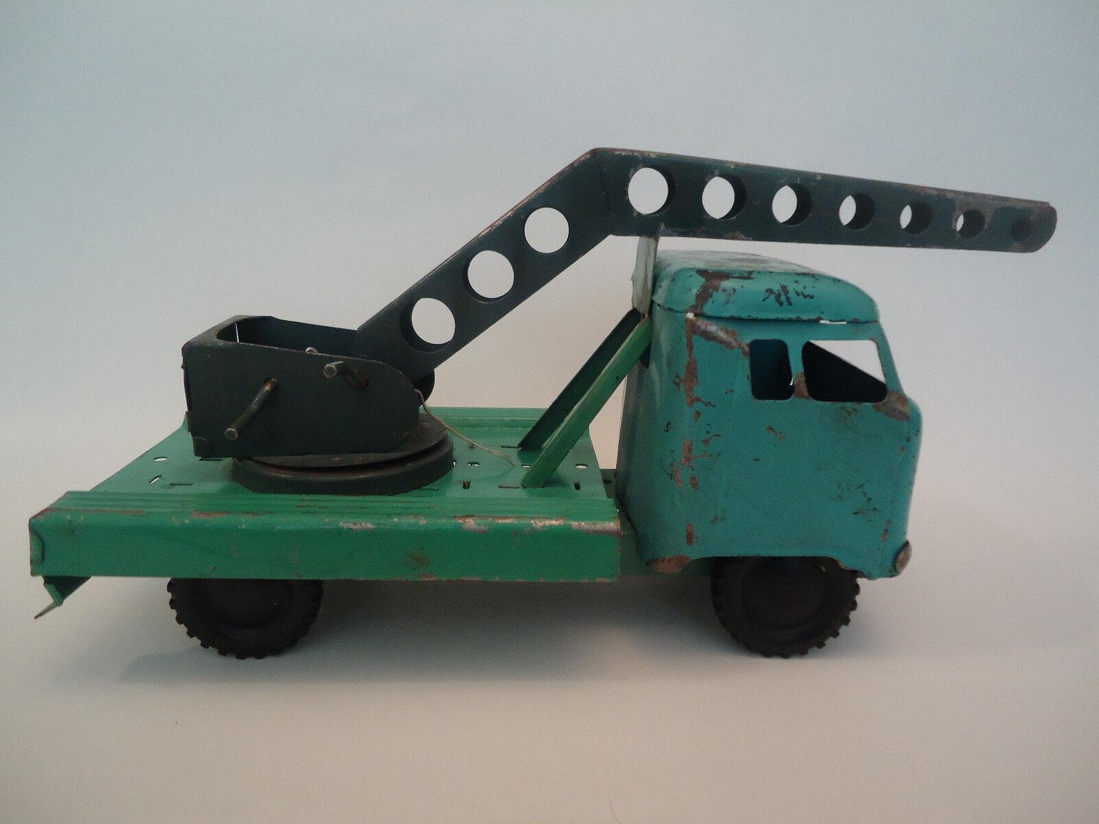 Antiguo Raro ruso soviético Fricción Estaño Juguete Camión grúa 60s