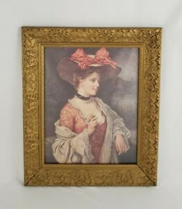 Vintage Gold Gilt Carved Wood Gesso Frame With A Bow Hat Print Picture Victorian