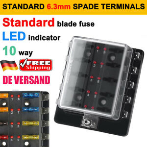 DE 10-Weg 12V//24V ATO KFZ Sicherungskasten Sicherungshalter Fuse Box Sicherung