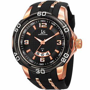 Men-039-s-Joshua-amp-Sons-JX110BKR-Quartz-Movement-Date-Polyurethane-Strap-Watch