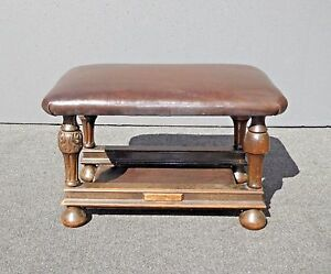 Antique-Victorian-Style-Brown-Leather-amp-Carved-Wood-Bench-Foot-Stool-Ottoman