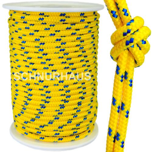8mm PP Seil Schnur 760daN gelb//blau 50m Tauwerk Reepschnur Flechtleine cord rope
