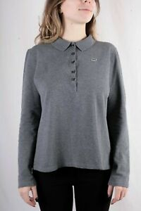Lacoste-Women-s-Grey-Long-Sleeve-Cotton-Polo-Shirt-Size-46-XXXL-3XL