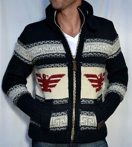 quality design b8720 00b74 Details zu SUPERDRY Men's Big Zip BUFFALO Knitted Cardigan - Sweater - NEW  - Navy Blue