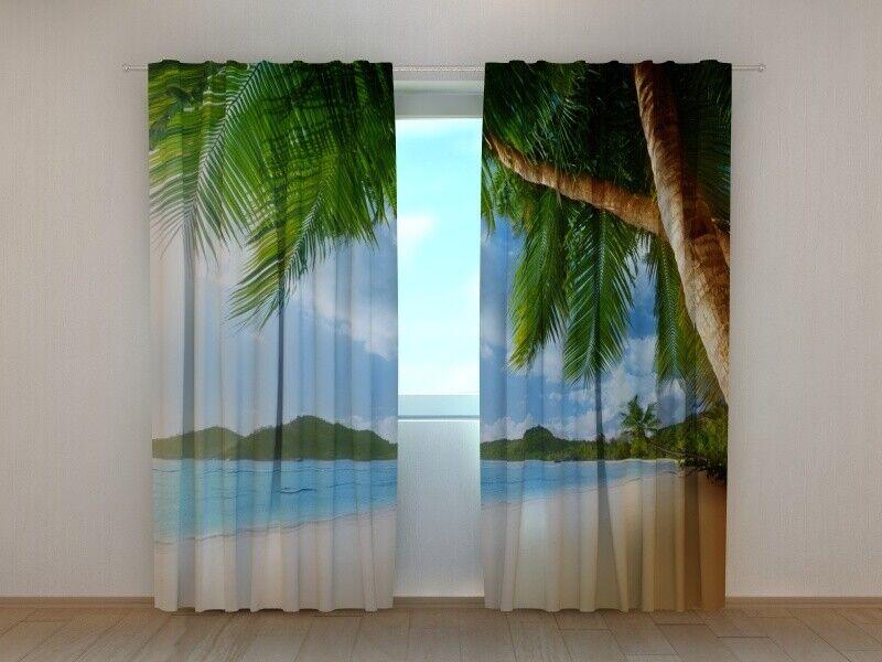 Cortina  Palma  de la foto impresa 3D foto persianas foto hechas a medida de la cortina de la impresión