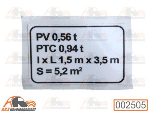 pas 2cv 002505 Plaque de tare pour Citroen mehari