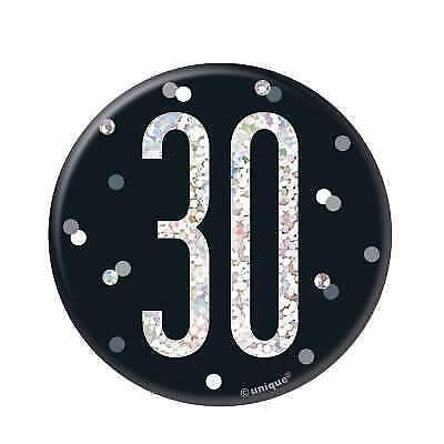 """Black /& Silver edad 30//30th Fiesta de Cumpleaños 3/"""" Insignia"""