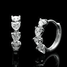 1.00Ct Heart Shape Created Diamond Huggie Earrings Solid 14K White Gold VVS1