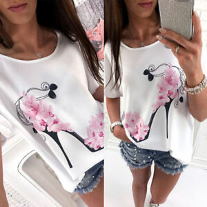 Summer-Womens-Short-Sleeve-Crew-Neck-Floral-Casual-Tops-Loose-T-Shirt-Blouse-CN