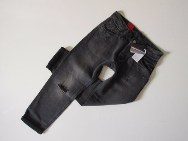 fd278d0a NWT Levi's 501 CT in Grey Tumble Destroyed Selvedge Boyfriend Crop Jeans 30