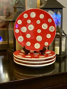 All-U-Can-Handle-Dinner-Plate-Red-White-Blk-Circles-10-5-034-Hand-painted-Set-of-4