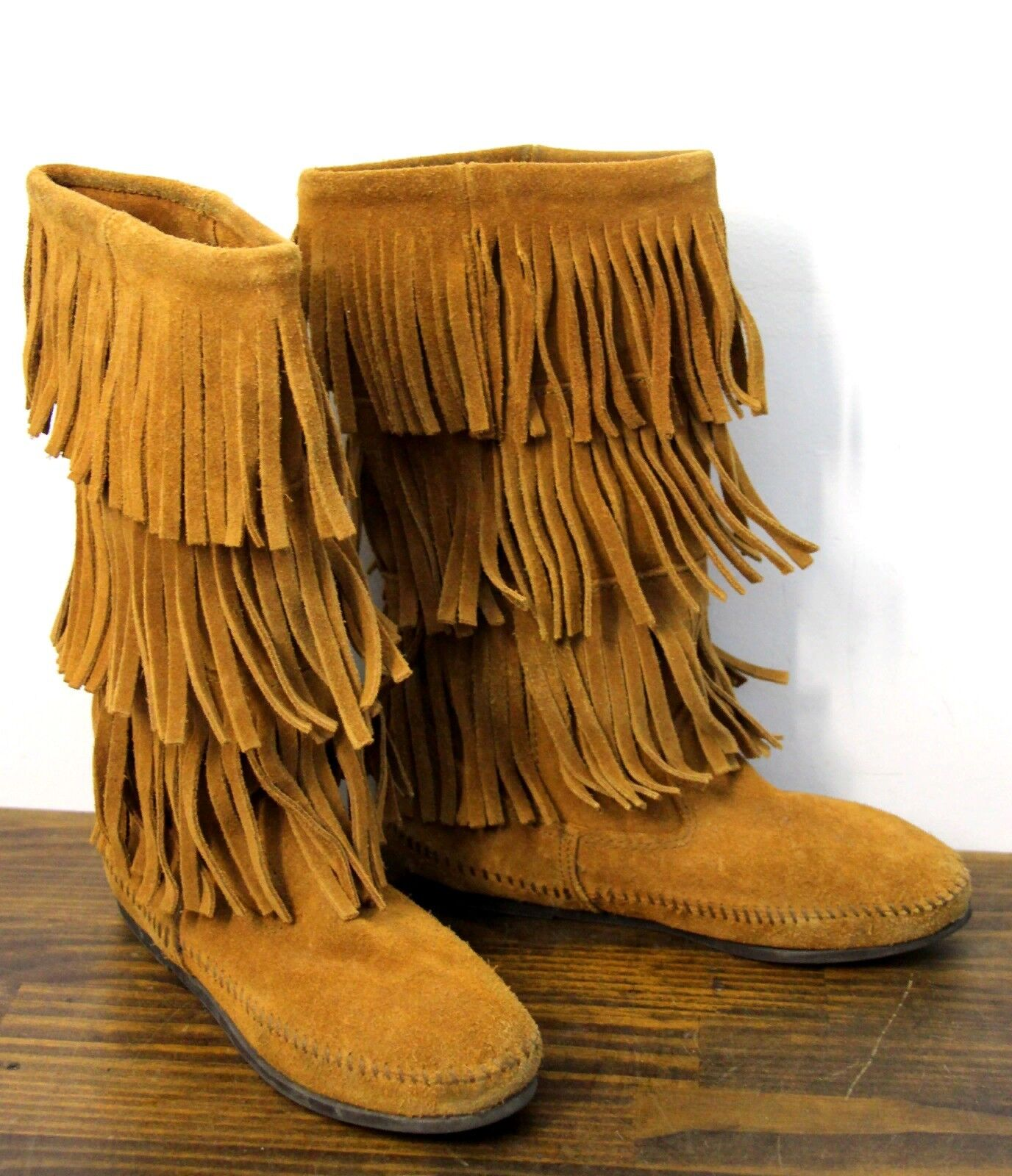 MINNETONKA FRINGED TAN BROWN GENUINE LEATHER SUEDE PULL ON TALL MOCCASIN BOOTS 7