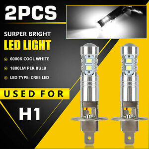 2X-H1-LED-Scheinwerfer-Fernlicht-Abblendlicht-Birne-6000K-Motorrad-ATV-Weiss