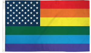 Rainbow US Stars Flag 3/' x 5/' LGBTQ Pride Flag Single Sided Wall Decoration Flag