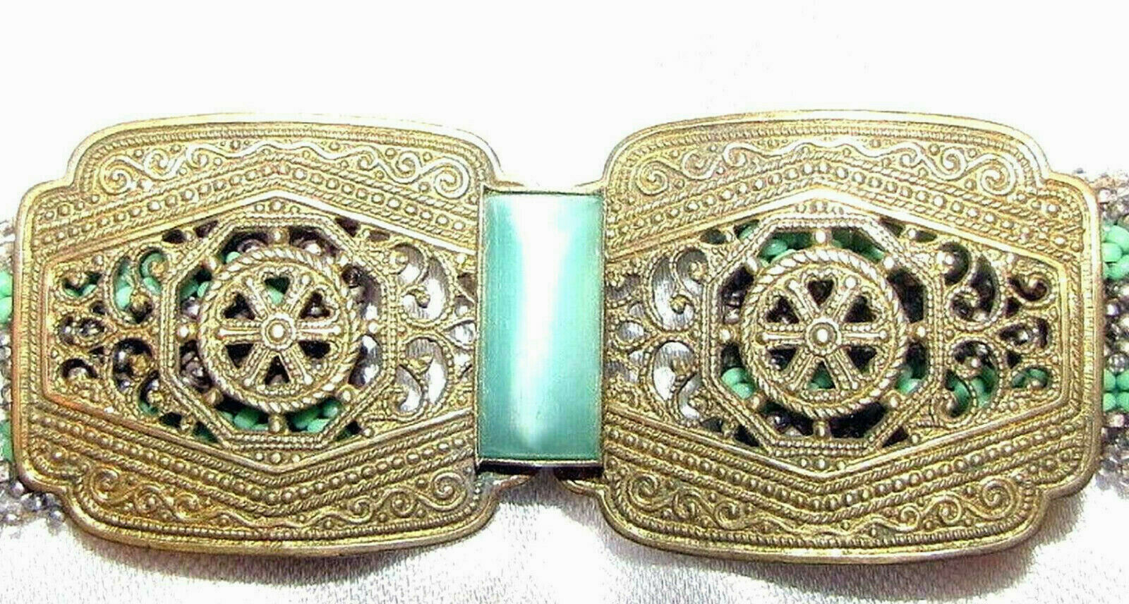Art deco women's glass beaded belt with brass buckle set with Lucite HAND MADE