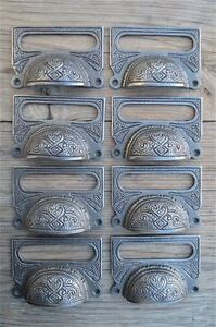 A LARGE EDWARDIAN PATTERNED CAST IRON LABEL FRAME HANDLE FILING DRAWER PULL CB10 Architectural Antiques Hardware