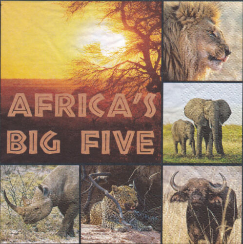 4 Servietten Afrika`s Fig Five Löwe Elefant Büffel Nashorn Leopard