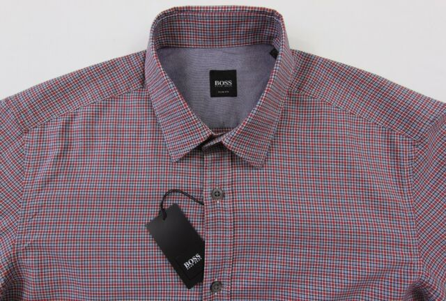 Men's HUGO BOSS Red Black Micro Plaid RONNY Shirt XL XLarge NWT $145 Slim Fit