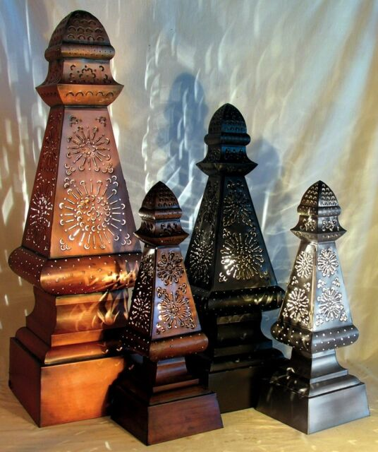 Finial Tower Light/Floor Lamp - Punched Tin, 4 Patina Finishes, 3 Sizes