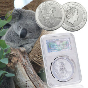 WR-Australia-Koala-Silver-Coin-Queen-Elizabeth-1-Dollar-In-Display-Slab