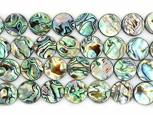 Justinstones 18mm Natural Abalone Shell Flat Coin Beads Strand 16 Inch Jewelr#07