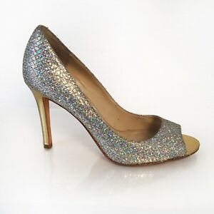 Details about 6M Silver Glitter Snakeskin Peep Toe Gold Stiletto Heels Enzo  Angiolini Retro 269aa0c3fa0a