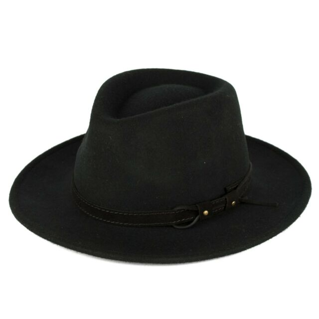 fc00c22b7 Wool Fedora Hat With Leather Belt Waterproof & Crushable Handmade in Italy  Black M (57 Cm)