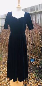 Ashley 40s Velvet Navy Uk Victorian Vintage Blue 30s Ballgown 12 Laura 10 an8xwn5
