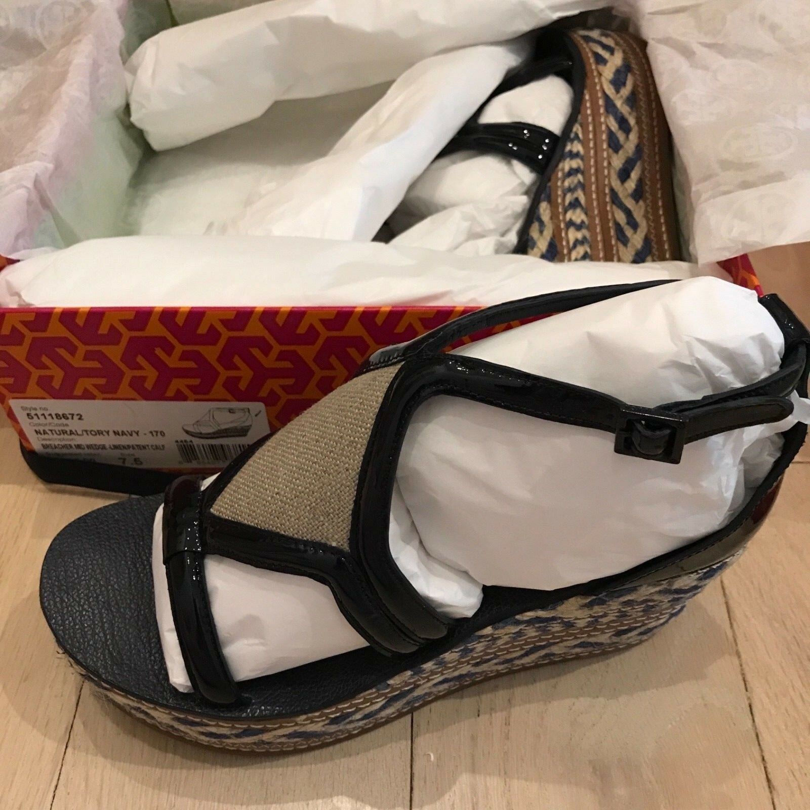 Tory Burch Breacher Wedge Edpadrille  Navy 7.5 NIB Linen Patent  in linea