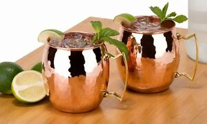 Moscow Mule Copper Mug 20oz, Silver One Intl, Tarnish Resistant, Set of 2