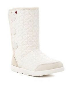 Heart Puffy Quilted Tall Boot ICE White