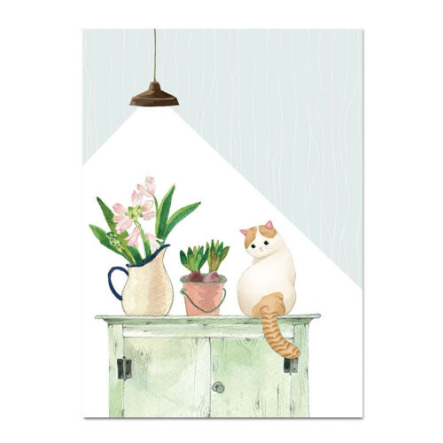 Cat Watercolor Plant Canvas Poster Nordic Decoration Prints Decorative Picture