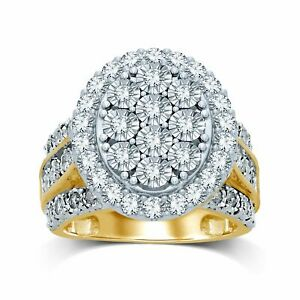 Bevilles Oval Halo Ring with 2.00ct of Diamonds in 9ct Yellow Gold