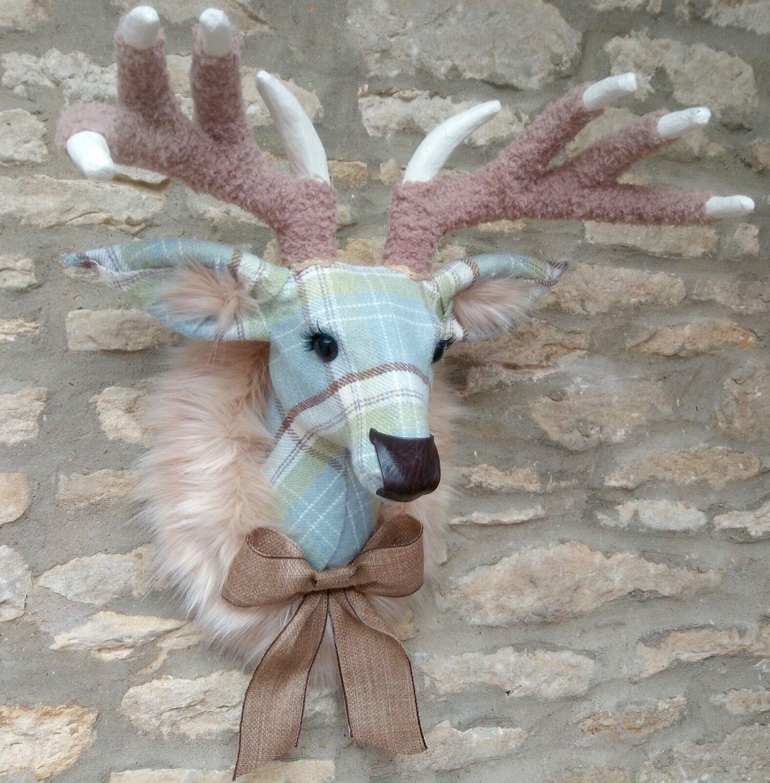 Handmade faux taxidermy cornflower Blau plaid deer wall mount stag trophy head