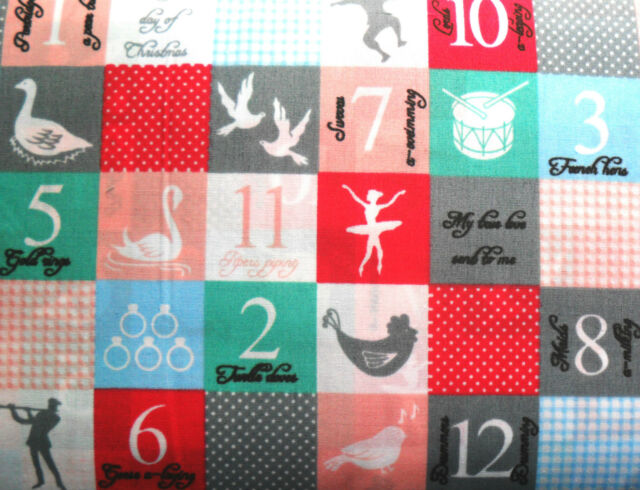 1M 12 Days of Christmas XMAS Fabric POLY COTTON Patchwork Crafts Quilting Sewing