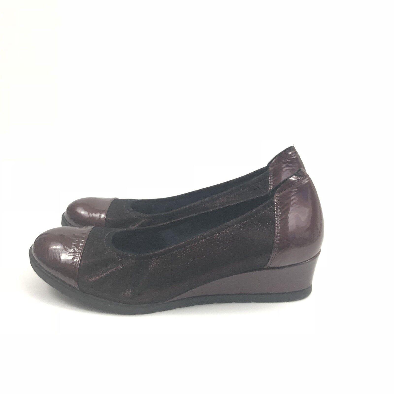 Sabrinas London Damenschuhe Größe 37 Toe Metallic Patent Leder Cap Toe 37 Heel Wedges fae3b2
