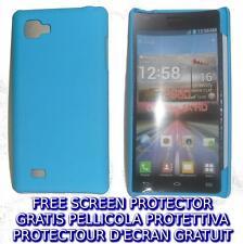 Pellicola + custodia BACK COVER AZZURRA rigida per LG Optimus 4X HD P880