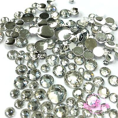 400 2mm - 6mm Resin clear crystal round Rhinestones Flatback Mix SIZE