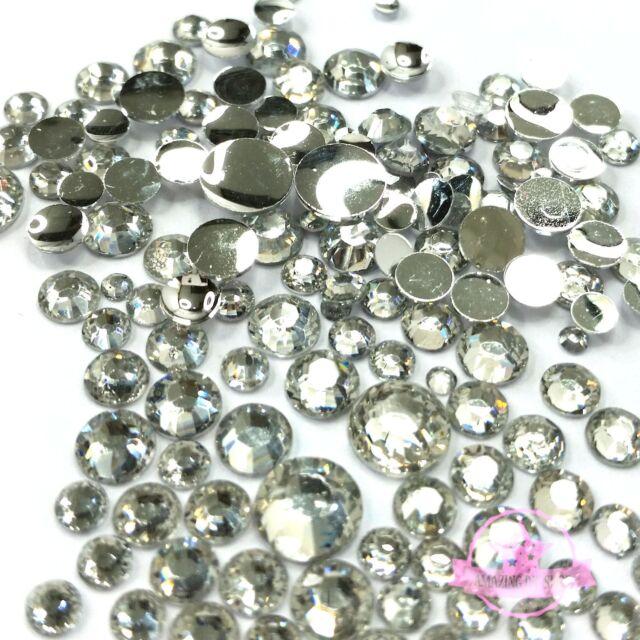 400 2mm - 6mm Resin clear crystal round Rhinestones Flatback Mix SIZE