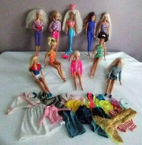 Lot-10-poupees-Barbie-avec-vetements-et-accessoires