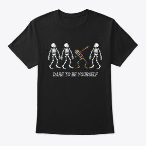 Autism-Skeleton-Dabbing-Be-Different-Hanes-Tagless-Tee-T-Shirt